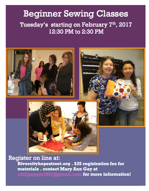 Beginner sewing class starts february th river city